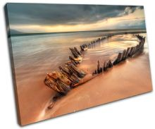 Beach Boatwreck Sunset Seascape - 13-0354(00B)-SG32-LO